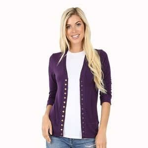 🆕3/4 Sleeve Purple Brass Button Snap Cardigan